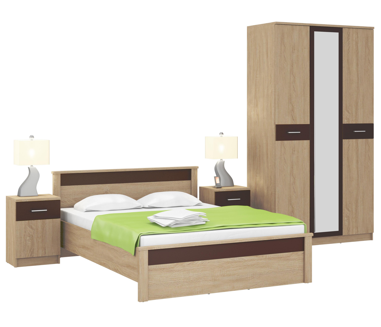Клео Дуб Сонома/Браун Спальня (кровать + шкаф 3х дв + тумбы)Спальные гарнитуры<br><br><br>Длина мм: 0<br>Высота мм: 0<br>Глубина мм: 0