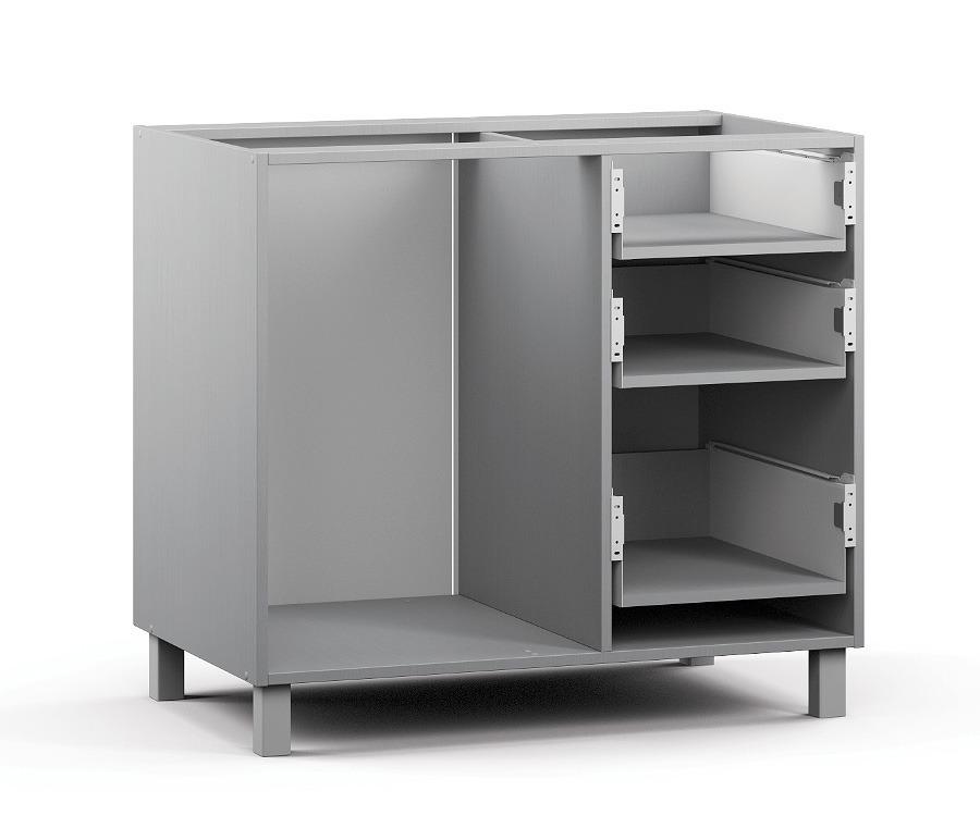 Анна АС-90 Шкаф-СтолМебель для кухни<br>Корпус шкафа с тремя выдвижными ящиками.<br><br>Длина мм: 900<br>Высота мм: 820<br>Глубина мм: 563