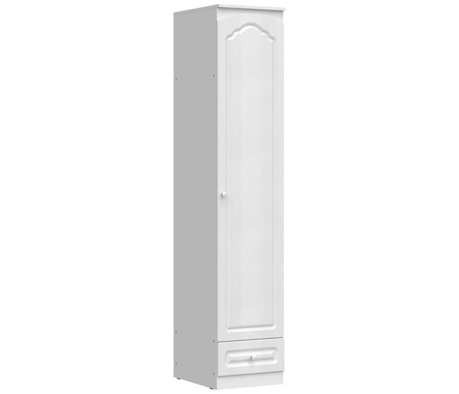 Амалия СБ-986 Шкаф 1- но дверный ПравыйШкафы<br>Правый 1-дверный шкаф  Амалия СБ-986  поможет организовать гардероб в маленькой спальне. Компактность модели скрывает за собой удивительную практичность: к вашим услугам нижний выдвижной ящик, просторная секция со штангой для вешалок и верхняя вместительная полка. Благодаря прочности материалов конструкция легко выдержит даже внушительный вес. Светлый оттенок «Дуб беленый» превращает шкаф в стильный акцент обстановки. Осторожная рельефность фасадов в сочетании с круглыми ручками не отвлекает на себя внимание и одновременно подчеркивает изысканность модели «Амалия СБ-986». &#13;Также дополнительно Вы можете приобрестикомплект из трех полок Амалия Р-986.<br><br>Длина мм: 450<br>Высота мм: 2229<br>Глубина мм: 584