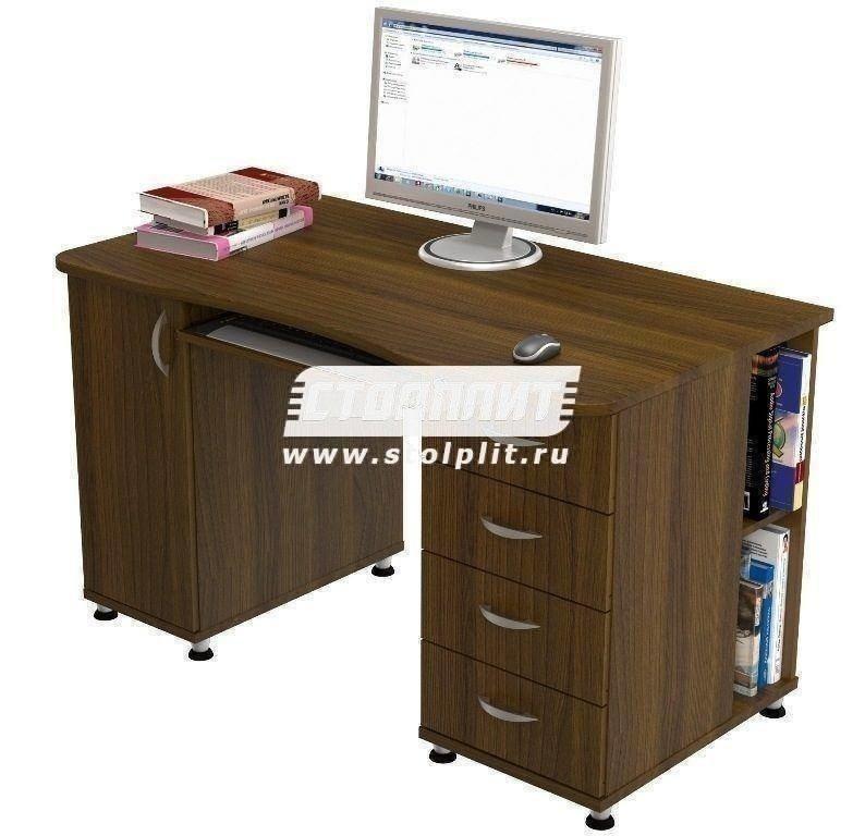 Стол компьютерный КС 2039Компьютерные столы<br><br><br>Длина мм: 1300<br>Высота мм: 770<br>Глубина мм: 700<br>Цвет: Орех Валенсия
