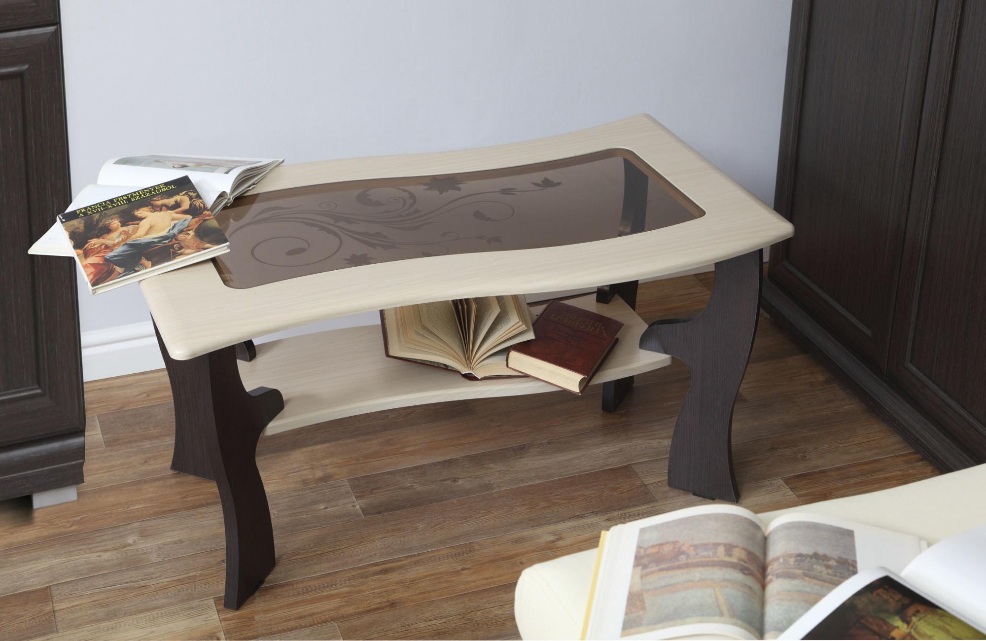 Журнальный стол Маджеста - 9 с пескоструемЖурнальные столики<br><br><br>Длина мм: 1000<br>Высота мм: 522<br>Глубина мм: 600