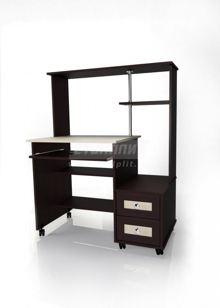 Стол для компьютера МБ – 26Компьютерные столы<br><br><br>Длина мм: 1000<br>Высота мм: 1275<br>Глубина мм: 600<br>Цвет: Венге/ Молочный дуб
