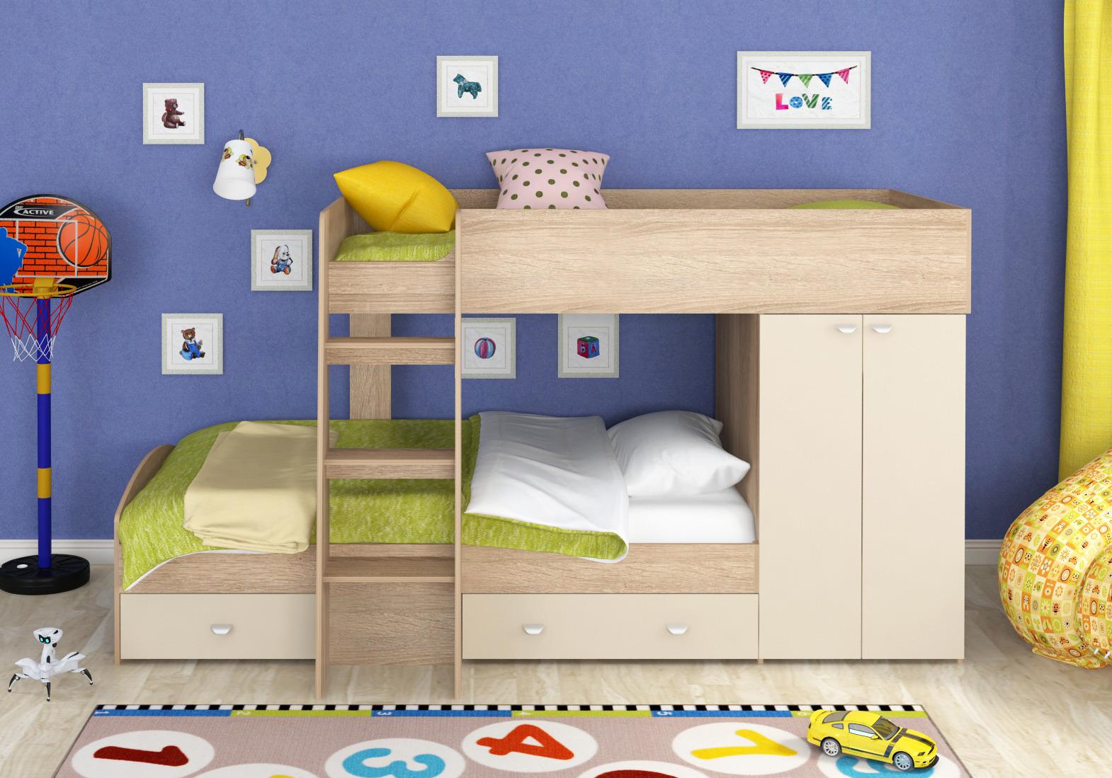 Набор мебели Golden Kids 2 кдКровати двухъярусные<br><br><br>Длина мм: 1265<br>Высота мм: 1555<br>Глубина мм: 2700
