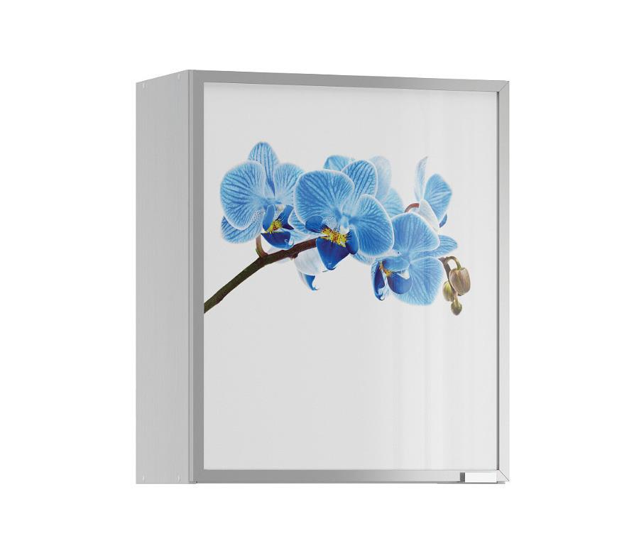 Анна АП-60 полка с витриной Орхидея синяяМебель для кухни<br>Любите оригинальность? Тогда ваш выбор   полка с витриной  Анна АП-60 . Нестандартный дизайн смотрится очень свежо и нежно, позволяя полке вписаться в любую современную кухню и стать ярким акцентом в ее интерьере. Особого внимания заслуживает красочное изображение синей орхидеи, которое всегда будет напоминать о светлых весенних днях. Хорошее настроение обеспечено!&#13;Алюминиевая полка выполнена из качественного материала, что гарантирует надежность и долговечность конструкции. Даже спустя годы после покупки модель  Анна АП-60  сохранит отличный внешний вид и будет радовать хозяев не только высокой практичностью, но и яркими цветочными красками.<br><br>Длина мм: 600<br>Высота мм: 720<br>Глубина мм: 289