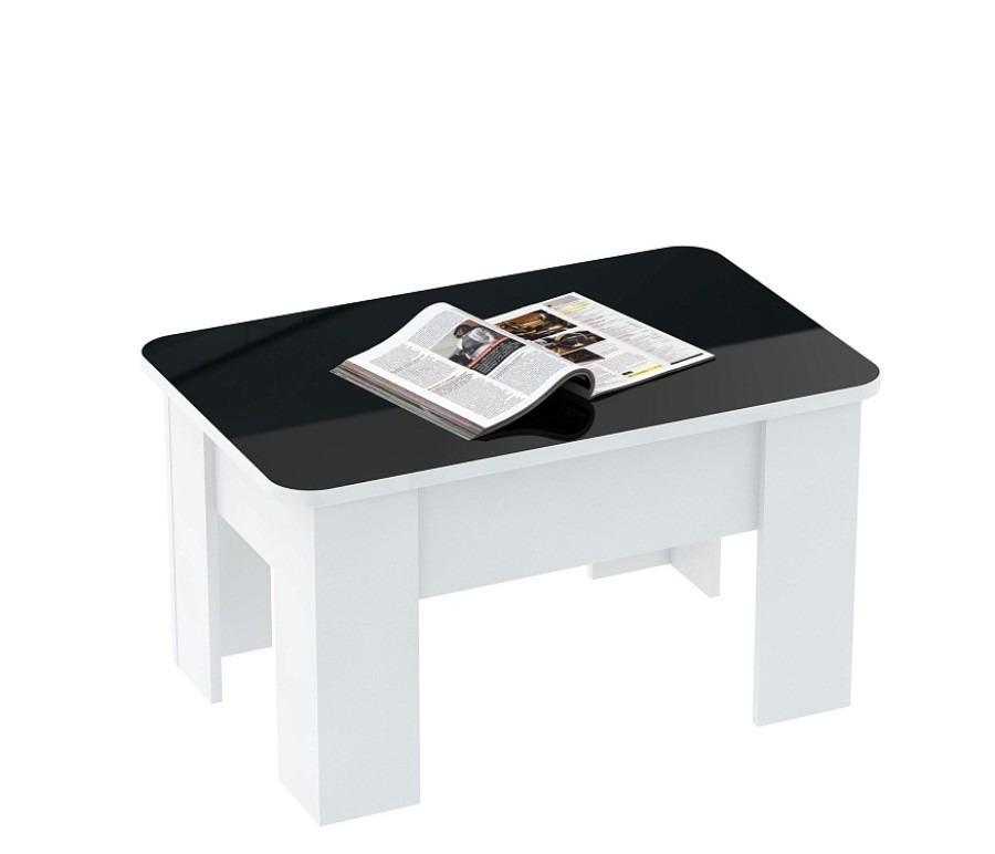 Стол трансформер СТ 8005Журнальные столики<br><br><br>Длина мм: 870<br>Высота мм: 0<br>Глубина мм: 550<br>Цвет: Черно-белый глянец с белой кромкой