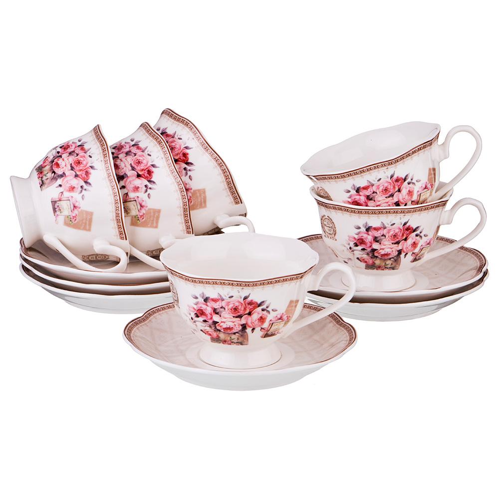 Чайный сервиз Lefard Лютеция 6 персон бежевый/розовый