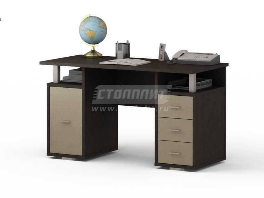 Стол письменный ПС 4007Письменные столы<br><br><br>Длина мм: 1300<br>Высота мм: 750<br>Глубина мм: 600<br>Цвет: Венге/ Молочный дуб
