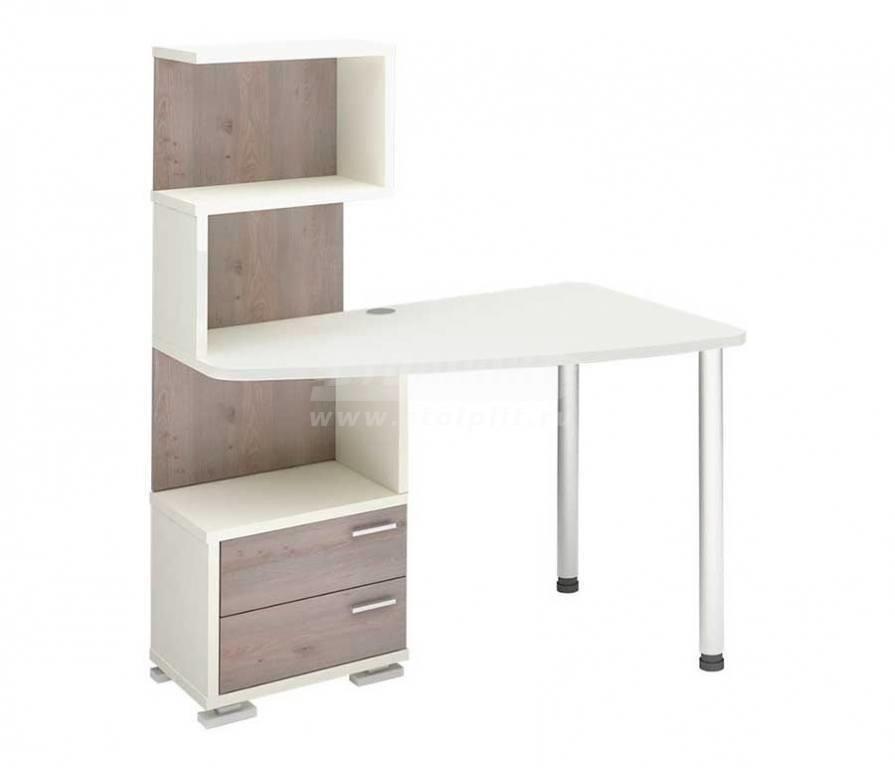 Стол компьютерный СКМ-60 НКомпьютерные столы<br><br><br>Длина мм: 1200<br>Высота мм: 1450<br>Глубина мм: 780<br>Цвет: Белый жемчуг/Нельсон