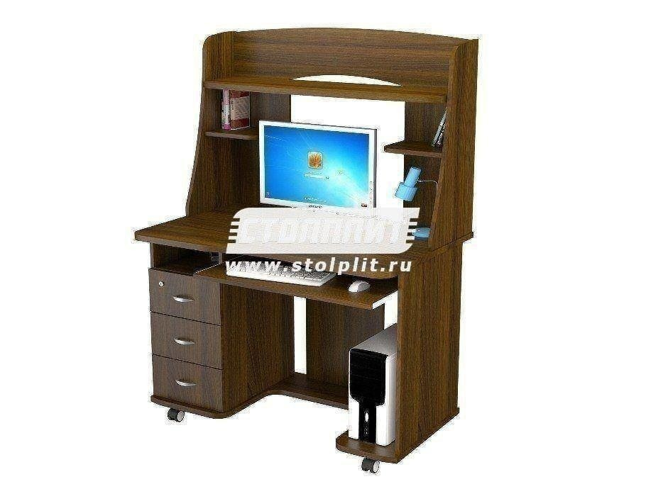 Стол компьютерный КС 2021м1Компьютерные столы<br><br><br>Длина мм: 1100<br>Высота мм: 1520<br>Глубина мм: 700<br>Цвет: Орех Валенсия
