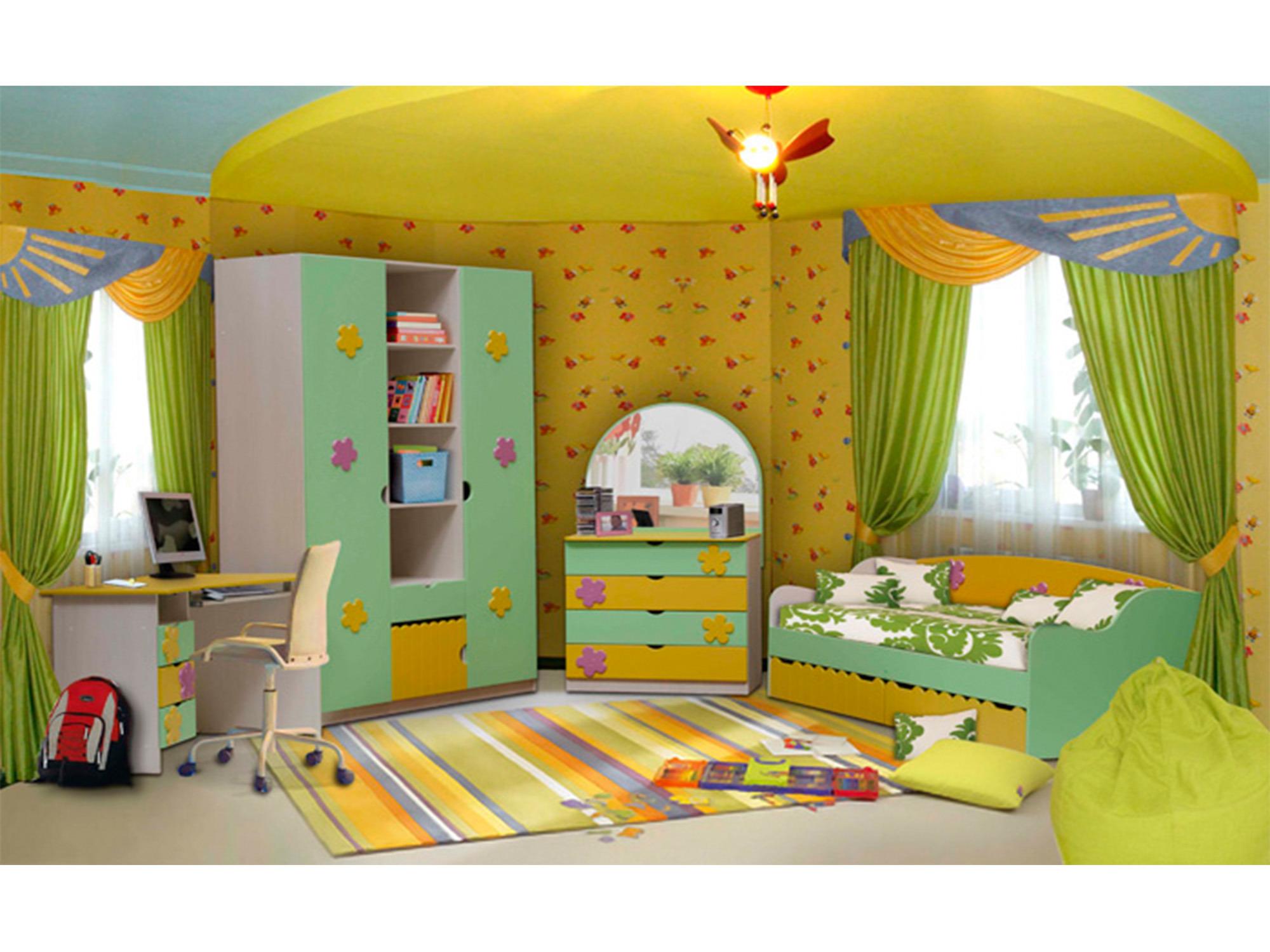 Спальный гарнитур ЦветочекДетские комнаты<br><br><br>Длина мм: 3665<br>Высота мм: 2200<br>Глубина мм: 580