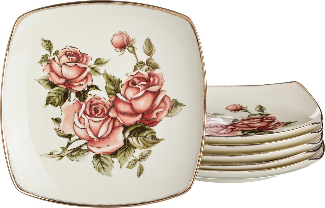 Набор тарелок корейская роза из 6 шт. 22*22 см недорого