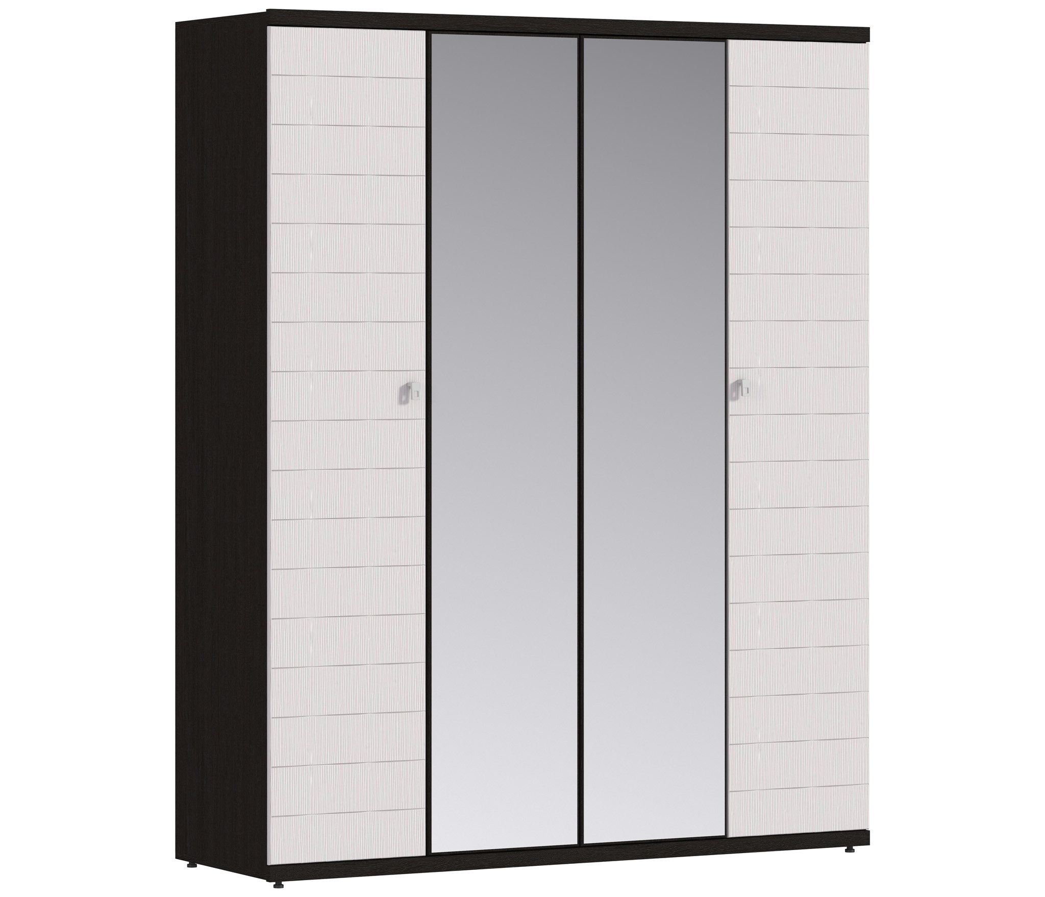 Гретта СБ-207 Шкаф 4-х дверныйШкафы<br>Лаконичный четырехдверный шкаф с зеркальными вставками.<br><br>Длина мм: 1800<br>Высота мм: 2241<br>Глубина мм: 580