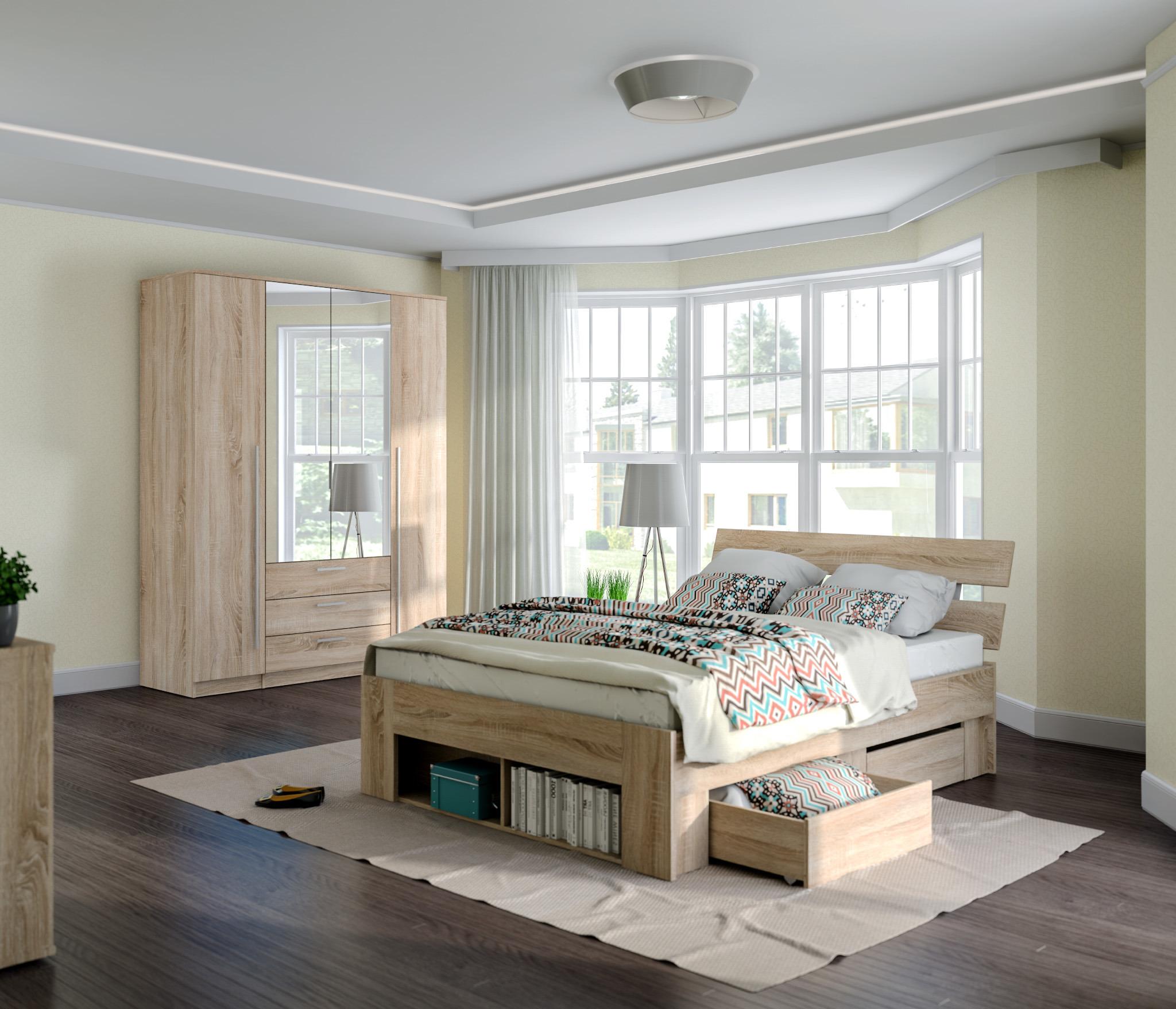 Берлин(Николь) Комплект 5 для спальни (кровать+2ящ+шк Николь 4дв)Спальные гарнитуры<br><br><br>Длина мм: 0<br>Высота мм: 0<br>Глубина мм: 0