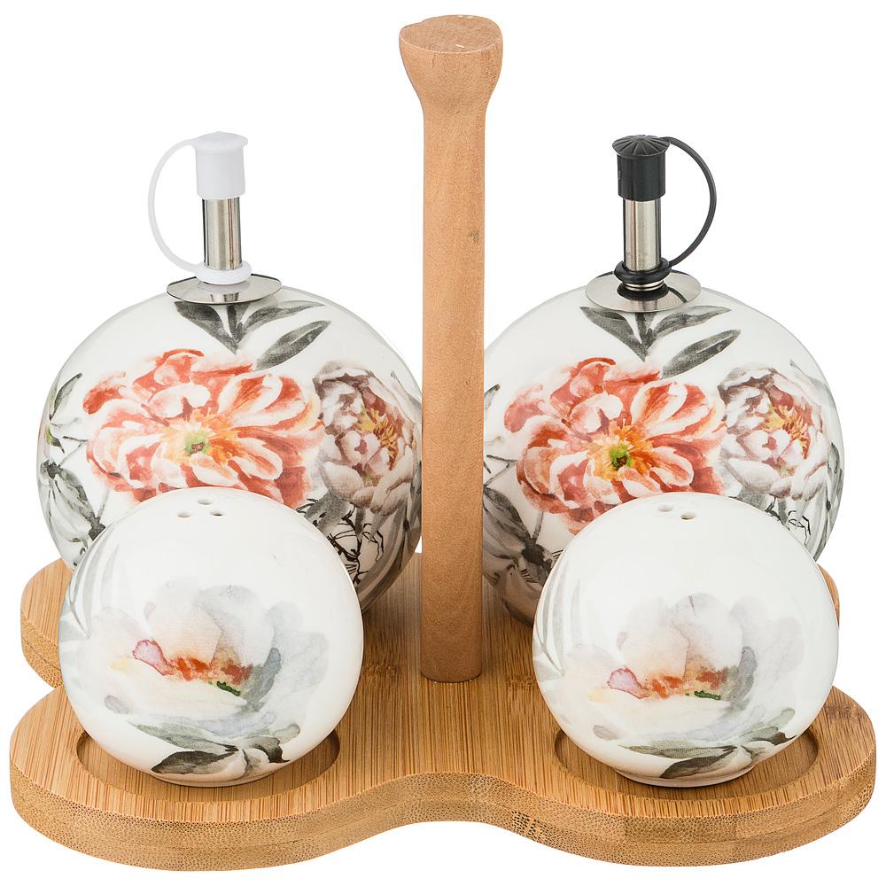 Фото - Набор для специй на деревянной подставкеЦветочная симфония набор для специй tescoma club соль перец зубочистки салфетки арт 650332