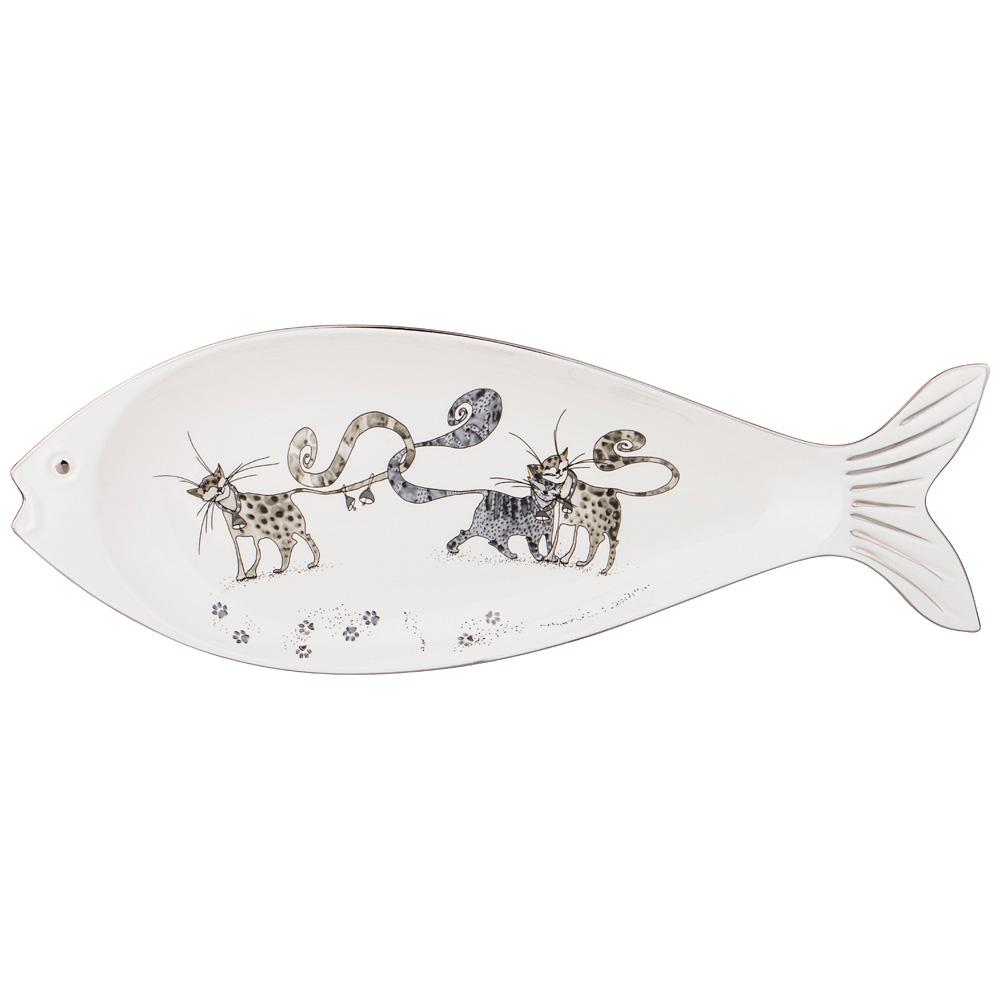 блюдо сервировочное со стеклянным куполом 35 5 см paddle Блюдо сервировочное Котики 38 см