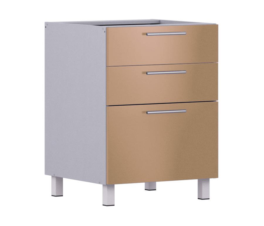 Анна стол АСЯ-360 с ящиками накладкиМебель для кухни<br>Анна стол АСЯ-360 с ящиками накладки   удобный и практичный аксессуар для вашей кухни. Вместительный стол с 3-мя выдвижными ящиками с легкостью займет свое законное место в любом интерьере, лишь бы его цвет совпадал с общей колористикой помещения. Модель выполнена из качественного ДСП с прочным ламинированным покрытием, устойчивым к истиранию. Корпус стилизован под  Алюминий , а фасады имеют оттенок  Белый жемчуг . Поверхность приставной тумбочки легко моется, не капризна по отношению к окружающим условиям, спокойно переносит повышенную влажность и перепады температуры, которые так часто случаются на кухне.<br><br>Длина мм: 600<br>Высота мм: 820<br>Глубина мм: 563