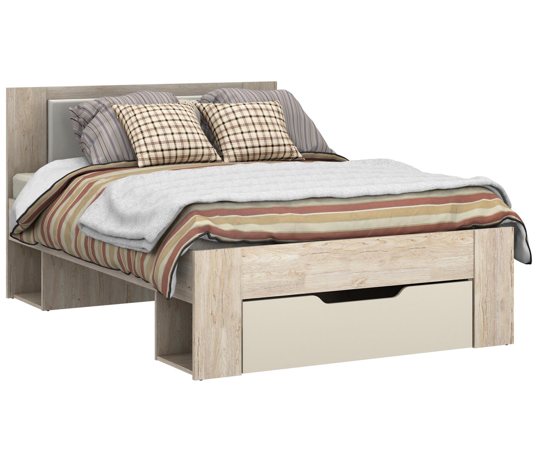 Милано СБ-2325 Кровать 1400Кровати<br>Кровать Милано СБ-2325 выполнена в оригинальном дизайне, который предусматривает наличие выдвижных ящиков для белья и личных вещей. На изделие можно установить ортопедический матрас, благодаря которому сон будет здоровым и крепким. Модель может использоваться как отдельный элемент, так и в сочетании с другой мебелью из коллекции, создавая таким образом целый спальный гарнитур. Кровать Милано Столплит выполнена в нейтральном оттенке  Дуб Санремо  и декорирована вставками у изголовья ванильного цвета. Ящик выкатной выписывается дополнительно.&#13;Ортопедическое основание и матрас приобретается отдельно.<br><br>Длина мм: 1460<br>Высота мм: 1004<br>Глубина мм: 2056