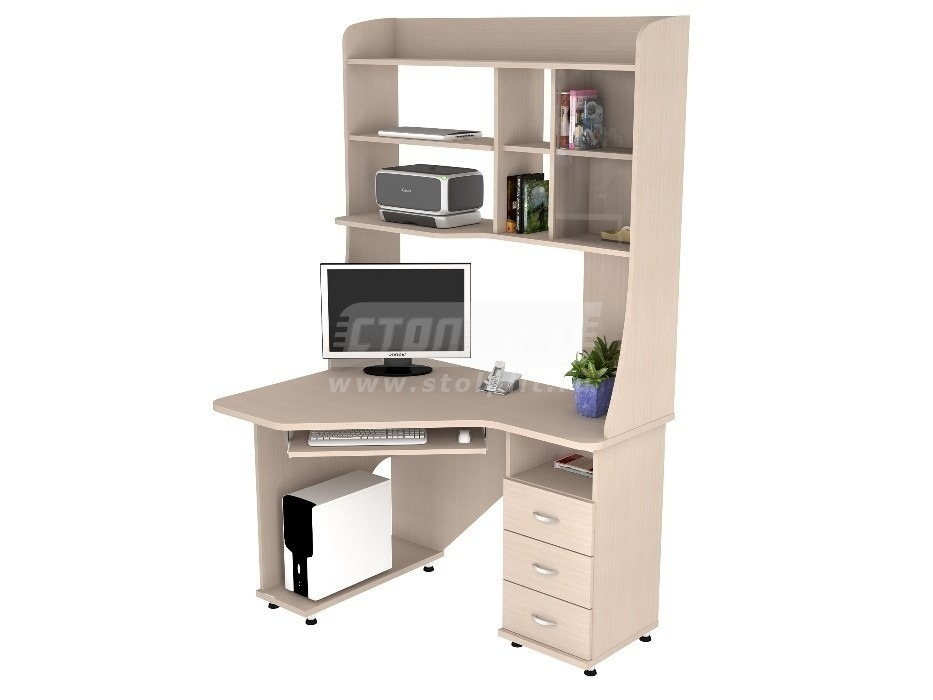 Стол компьютерный КС 2029м1Компьютерные столы<br><br><br>Длина мм: 1200<br>Высота мм: 1970<br>Глубина мм: 890<br>Цвет: Дуб молочный