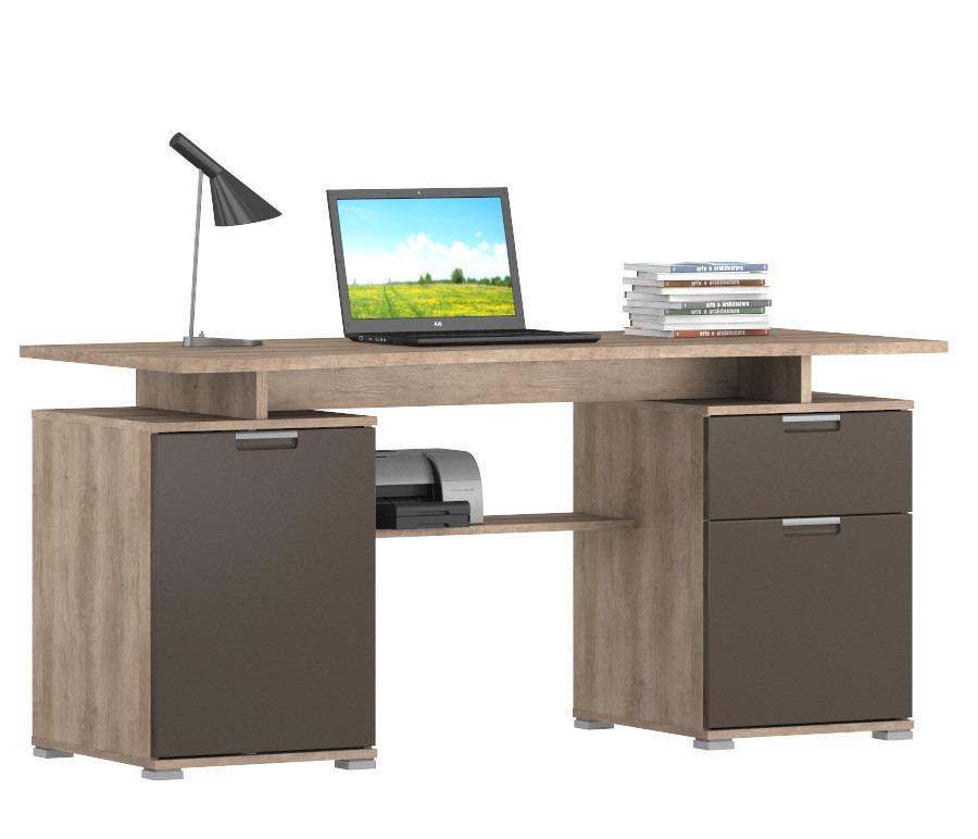Ницца СБ-2511 Стол компьютерныйПисьменные столы<br><br><br>Длина мм: 1600<br>Высота мм: 753<br>Глубина мм: 670<br>Цвет: Дуб Небраска серый/Шоколад