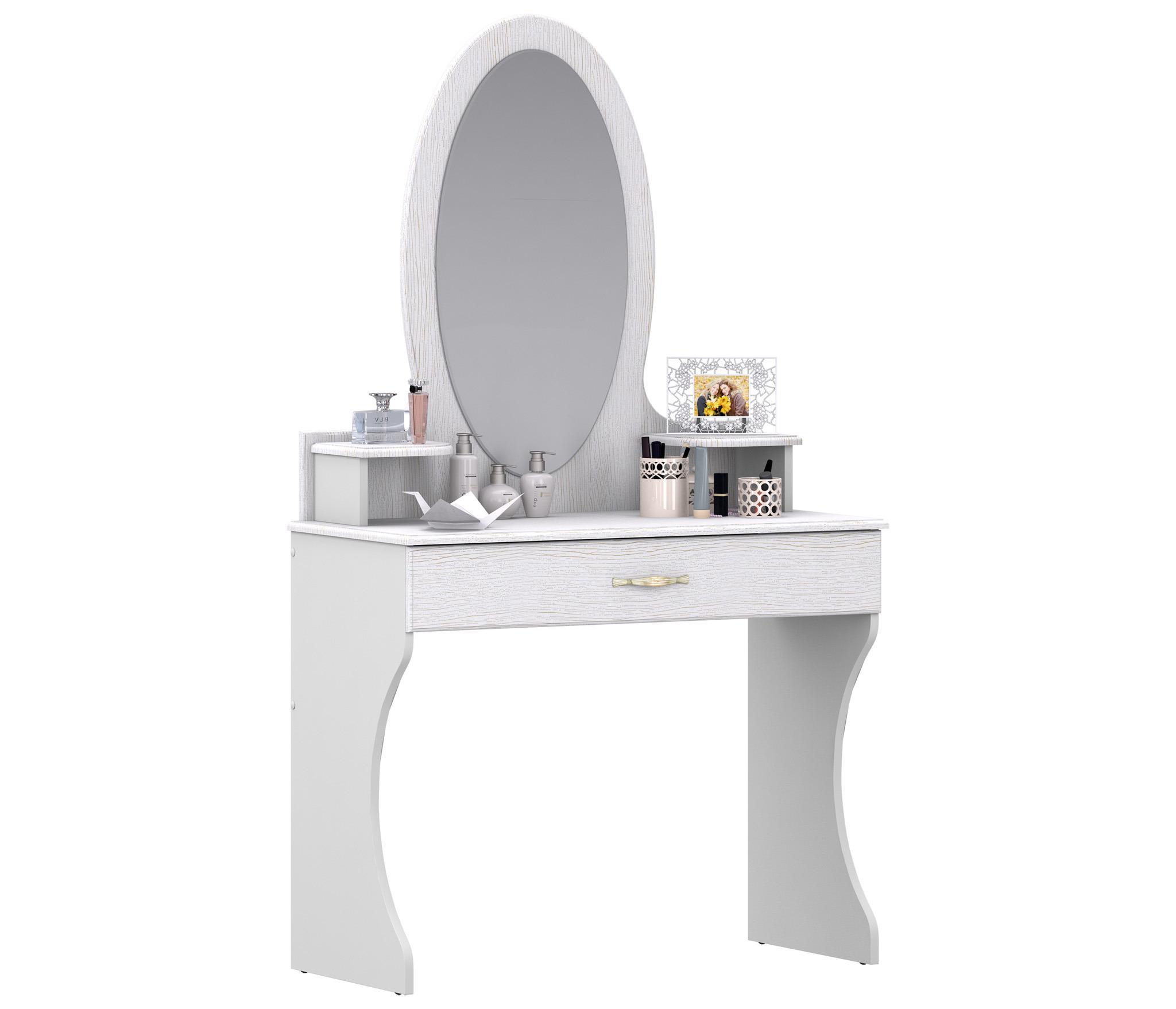 Кристина СБ-1865 Стол туалетныйГарнитуры<br>Туалетный столик Кристина СБ   1865 не только украсит женскую спальню, но и позволит собрать в одном месте всю косметику, средства ухода за волосами и другие  женские радости .<br><br>Длина мм: 910<br>Высота мм: 1605<br>Глубина мм: 440<br>Особенности: С зеркалом