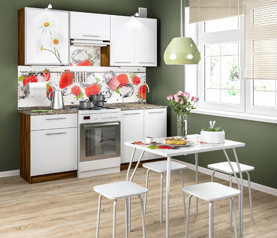 Ангелина-200 Кухонный гарнитур Ночь Марино/Белый глянец/РомашкиКухонные гарнитуры<br>Один из комплектов кухни  Ангелина  может стать идеальным решением для вас и вашей семьи. Простота и лаконичность стиля, легкий и безмятежный дизайн, актуальное сочетание цветов, оригинальные стеклянные фасады с фотопечатью   это то, что вы искали. Не только внешний вид, но и качество кухни будет радовать вас долгие годы. Материал - австрийская ламинированная плита Eger, отличная фурнитура, универсальные размеры. Выбирайте любую комплектацию, и вы с легкостью разместите всю посуду и бытовую технику, увидите, как ваша кухня заживет новой жизнью, а домашняя атмосфера станет более светлой и радостной! &#13;В комплект входит:&#13;2 стола:60 см с выдвижным ящиком, стол 80 см.&#13;3 полки: витрина 60 см в алюминевой рамке , 60см полка над вытяжкой, 80 см с двумя распашными фасадами. Все столы и полки можно устанавливать в произвольном порядке&#13;Глубина столов: 45 см.&#13;Глубина для столешницы: 60 см.&#13;Высота полок: 72 см &#13; &#13;Дополнительно рекомендуем приобрести:&#13;Мойку, сушку, стеновую панель, столешницу, бортик, кромку, профили, уголки.&#13;Все необходимые комплектующие Вам поможет подобрать оператор.&#13;Количество комплектов по цене со скидкой ограничено.<br><br>Длина мм: 2000<br>Высота мм: 2138<br>Глубина мм: 460