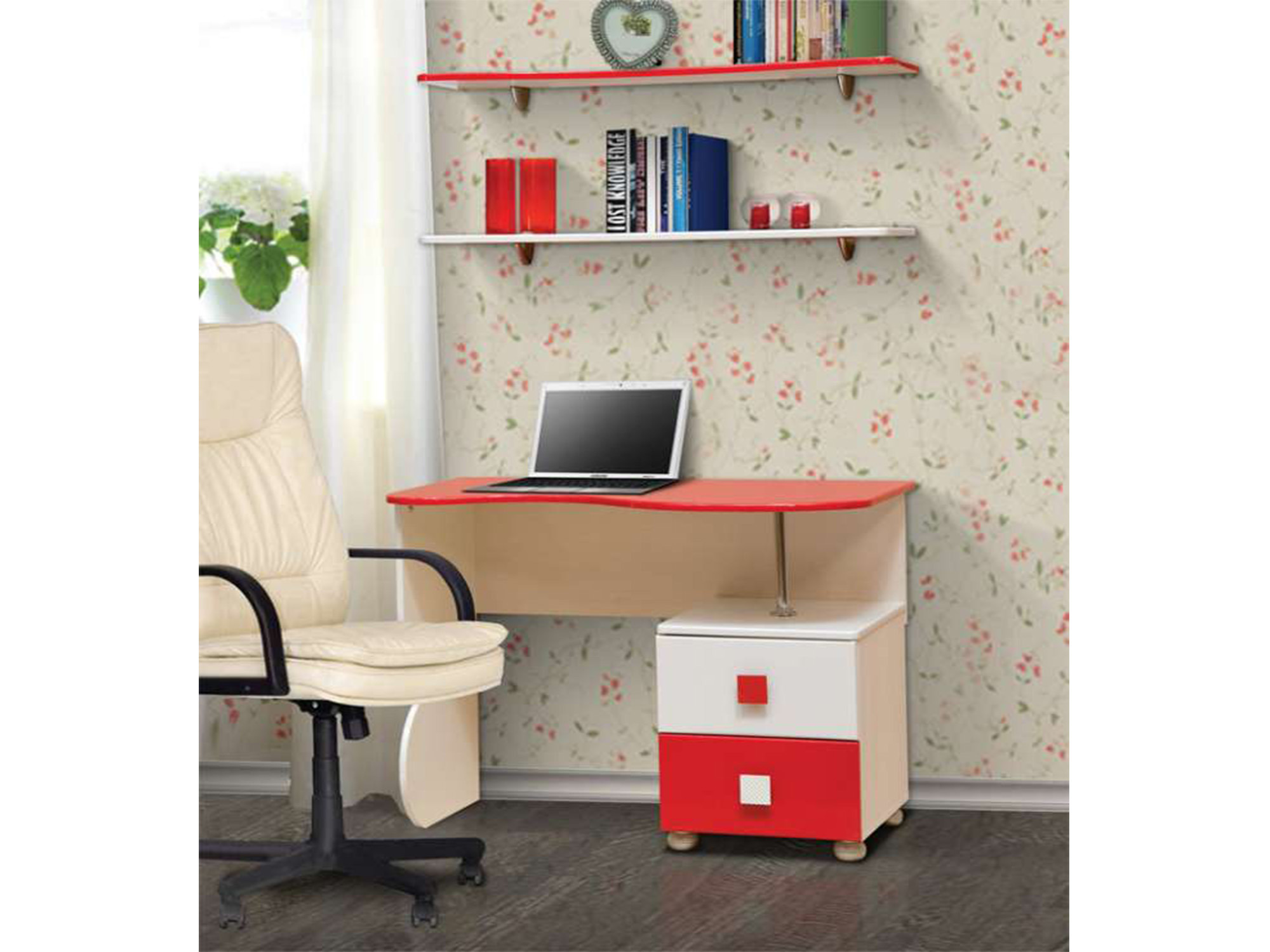Стол письменный с полками Кокетка-2Письменные столы<br><br><br>Длина мм: 1000<br>Высота мм: 750<br>Глубина мм: 550