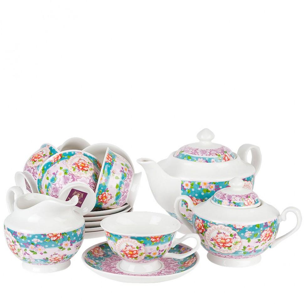 Сервиз чайный фарфоровый на 6 персон Цветочные кружева Nouvelle 15 предметов