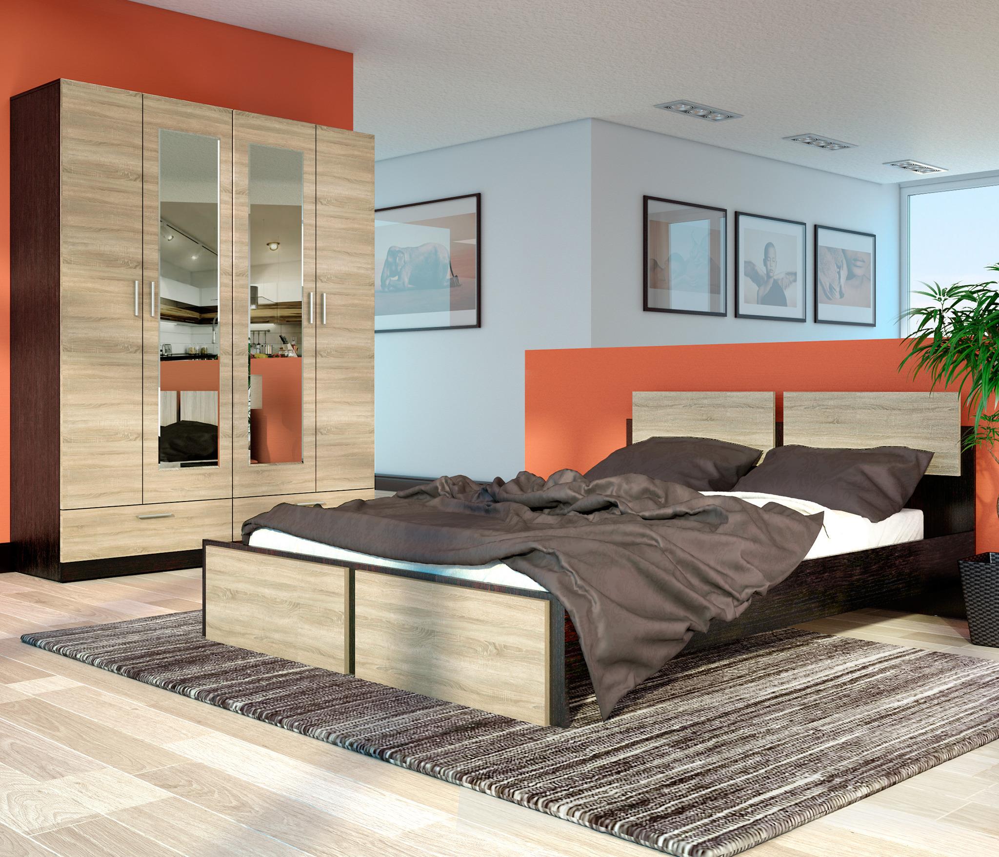 Спальня Флёр 2Спальные гарнитуры<br>Состав композиции:&#13;- шкаф 2-х дверный с зеркалом   80х211х52.7 см - 2 шт;&#13;- кровать – 164.2х80х205.8 см.&#13;Спальное место: 160х200 см. Матрас, подушки и ортопедическое основание в комплект не входят.&#13;Материал корпуса и фасада: КДСП.&#13;Тип направляющих: роликовые.&#13;]]&gt;<br><br>Длина мм: 0<br>Высота мм: 0<br>Глубина мм: 0