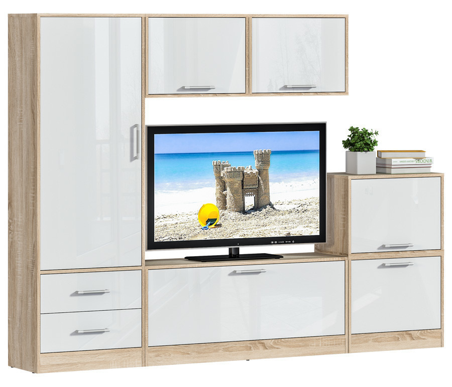 Агата L-2360 комплект 2Стенки для гостиной<br><br><br>Длина мм: 0<br>Высота мм: 0<br>Глубина мм: 0<br>Цвет: Дуб Сонома/Белый