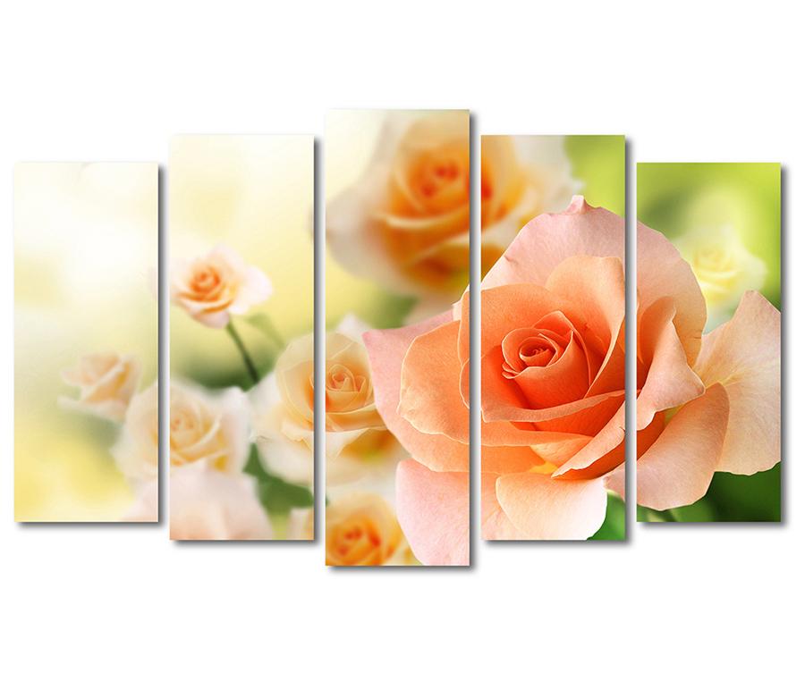 Пятимодульная картина цветы
