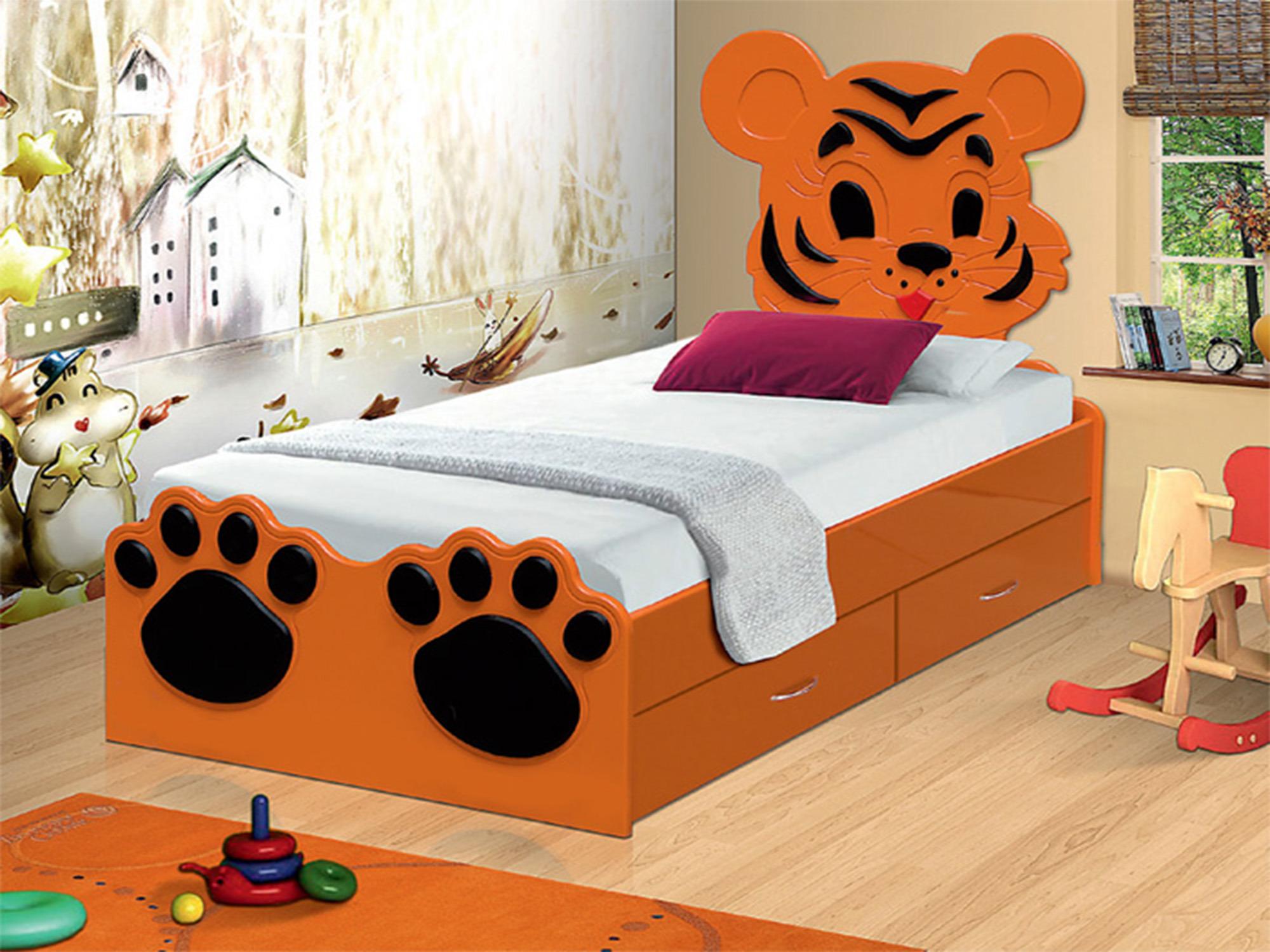 Кровать Тигренок с ящикамиДетские кровати<br><br><br>Длина мм: 875<br>Высота мм: 1100<br>Глубина мм: 1750