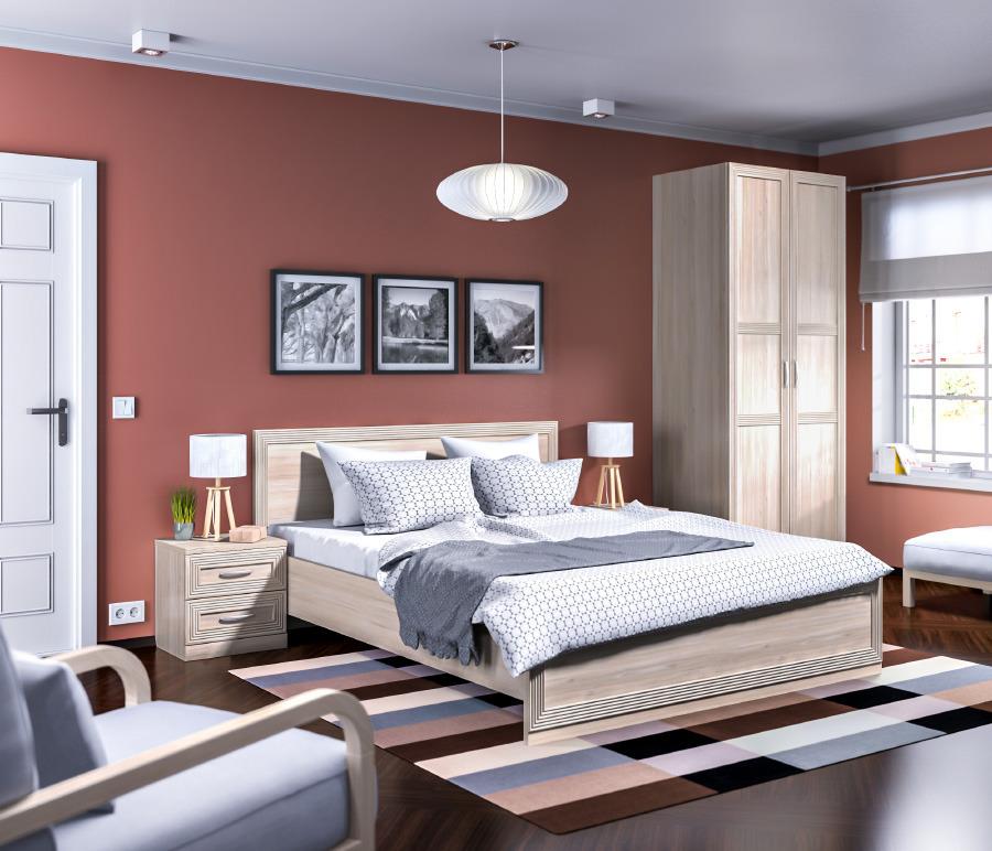 Хеопс Спальня (шкаф 2-х дв+тумба прикр+кровать)Спальные гарнитуры<br><br><br>Длина мм: 0<br>Высота мм: 0<br>Глубина мм: 0