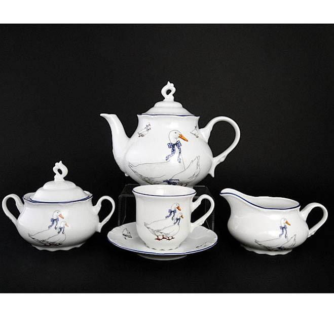 Сервиз чайный Гуси Констанция на 6 персон 17 предметов сервиз чайный из фарфора 12 предметов лаура 84 670