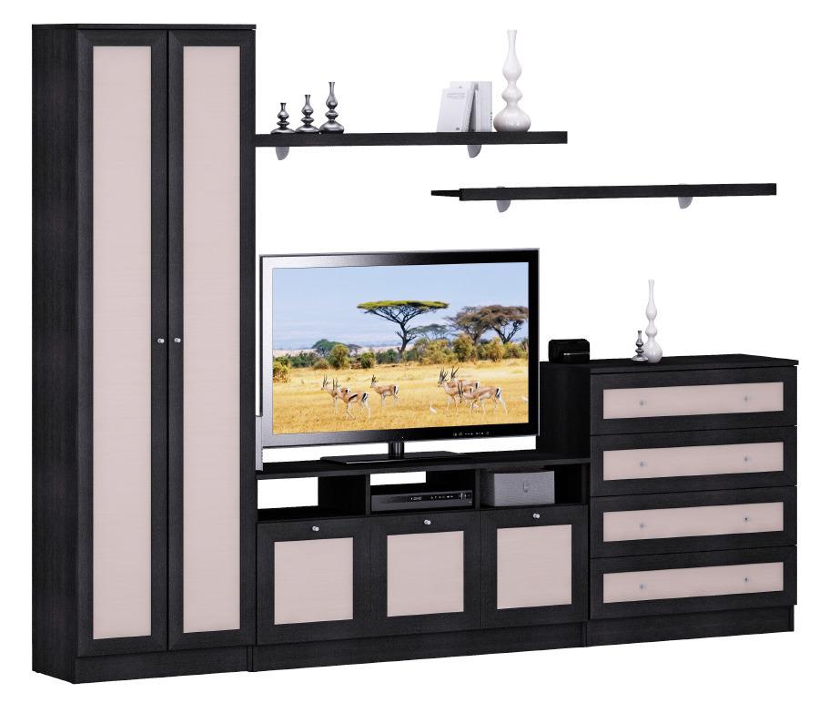 Стенка Лира 260 смСтенки для гостиной<br>Стенка состоит из 2х дверного шкафа, комода, тумбы ТВ.&#13;Все элементы могут быть расставлены в произвольном порядке.&#13;Стенку можно дополнить угловым шкафом Лира и дополнительными полками Лира и Дионис.&#13;Полки в комплект не входят&#13;]]&gt;<br><br>Длина мм: 0<br>Высота мм: 0<br>Глубина мм: 0