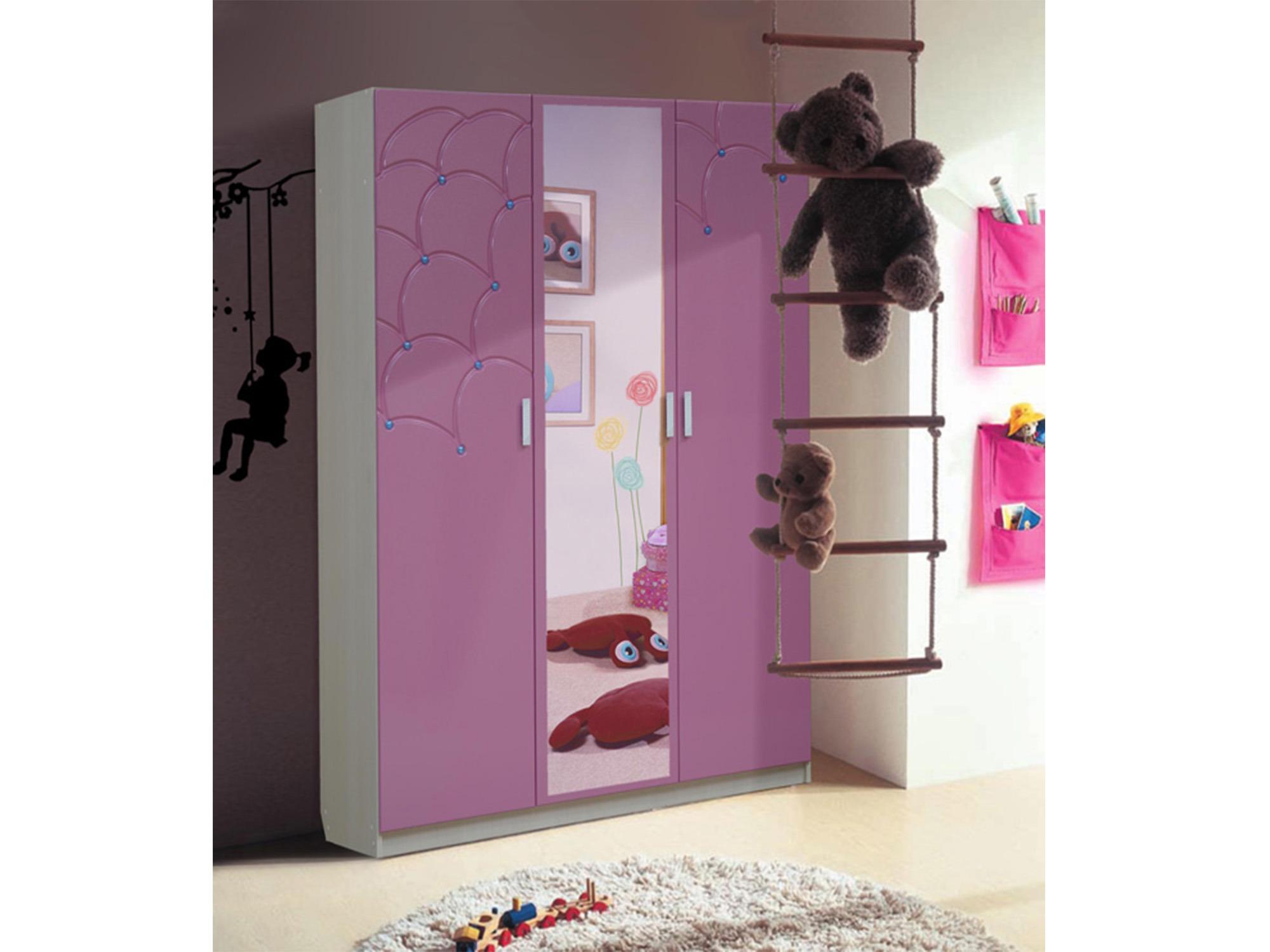 Шкаф с зеркалом МальвинаДетская<br><br><br>Длина мм: 1500<br>Высота мм: 2100<br>Глубина мм: 520