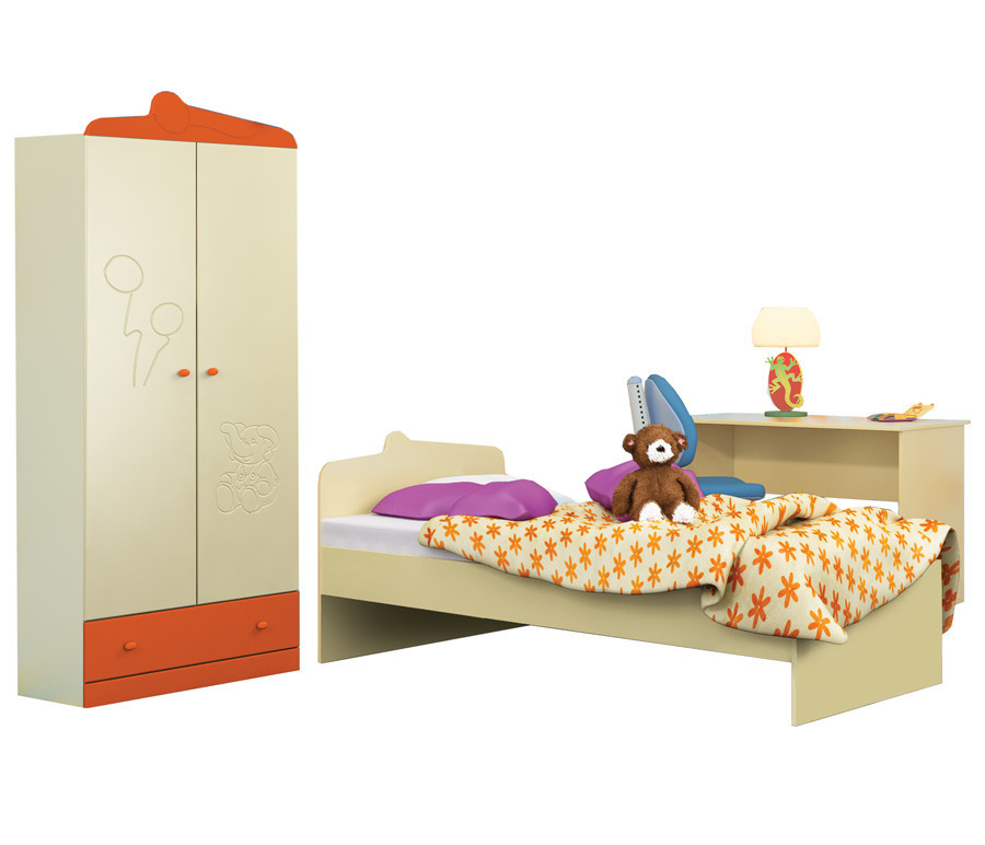 Денди Оранж (шкаф 2х дв. + кровать + стол)Детские комнаты<br><br><br>Длина мм: 0<br>Высота мм: 0<br>Глубина мм: 0