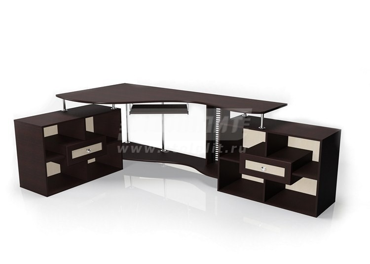 Стол для компьютера МБ – 10Компьютерные столы<br><br><br>Длина мм: 2055<br>Высота мм: 756<br>Глубина мм: 1380