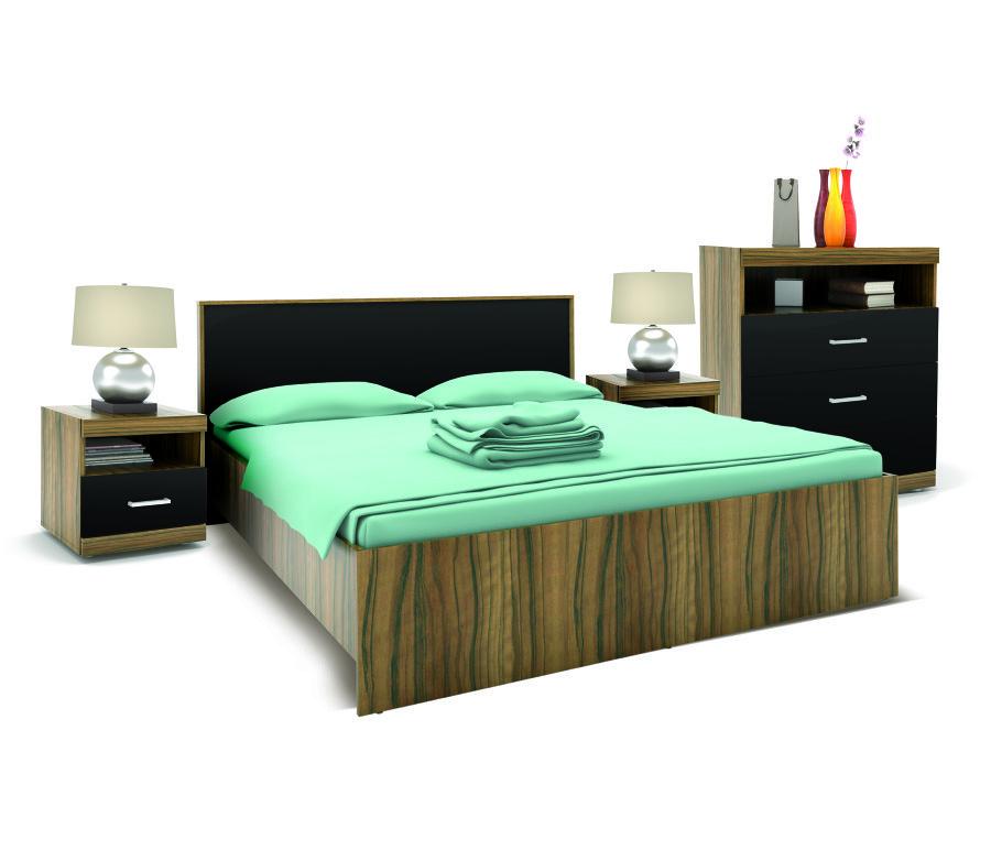 Марсель Спальня (кровать+2тумбы+комод) Ночь Марино/Черный ГлянецГотовые комплекты<br>Спальня  Марсель    это без преувеличения произведение дизайнерского искусства, особенно впечатляет цветовой оформление этого гарнитура. Корпуса мебели выполнены из высококачественной ДСП с поверхностным покрытием стилизованным под экзотическую древесину, под названием  Ночь Марино , а фасады и изголовье кровати   из практически черного глянцевого МДФ. Все вместе смотрится просто великолепно. В комплект  Марсель  входят комод с двумя выдвижными ящиками и открытой полкой, две небольшие тумбочки и, конечно, самый интересный экспонат   просторная двуспальная кровать.<br><br>Длина мм: 0<br>Высота мм: 0<br>Глубина мм: 0<br>Материал: ЛДСП глянец<br>Основание для матраса: Нет