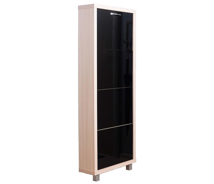 Шкаф обувной Люкс стекло черное 4СОбувницы<br><br><br>Длина мм: 545<br>Высота мм: 1405<br>Глубина мм: 190<br>Цвет: Дуб молочный