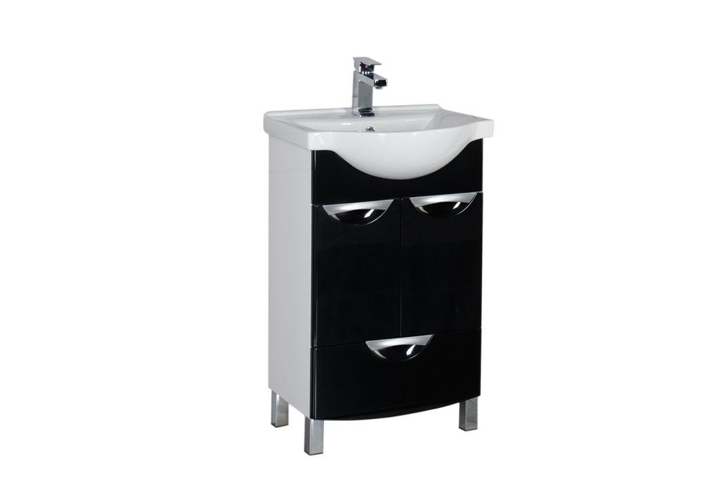 Тумба Aquanet  Асти 55 черный (2 дверцы 1 ящик)Тумбы с раковиной для ванны<br><br><br>Длина мм: 0<br>Высота мм: 0<br>Глубина мм: 0<br>Цвет: Чёрный глянец