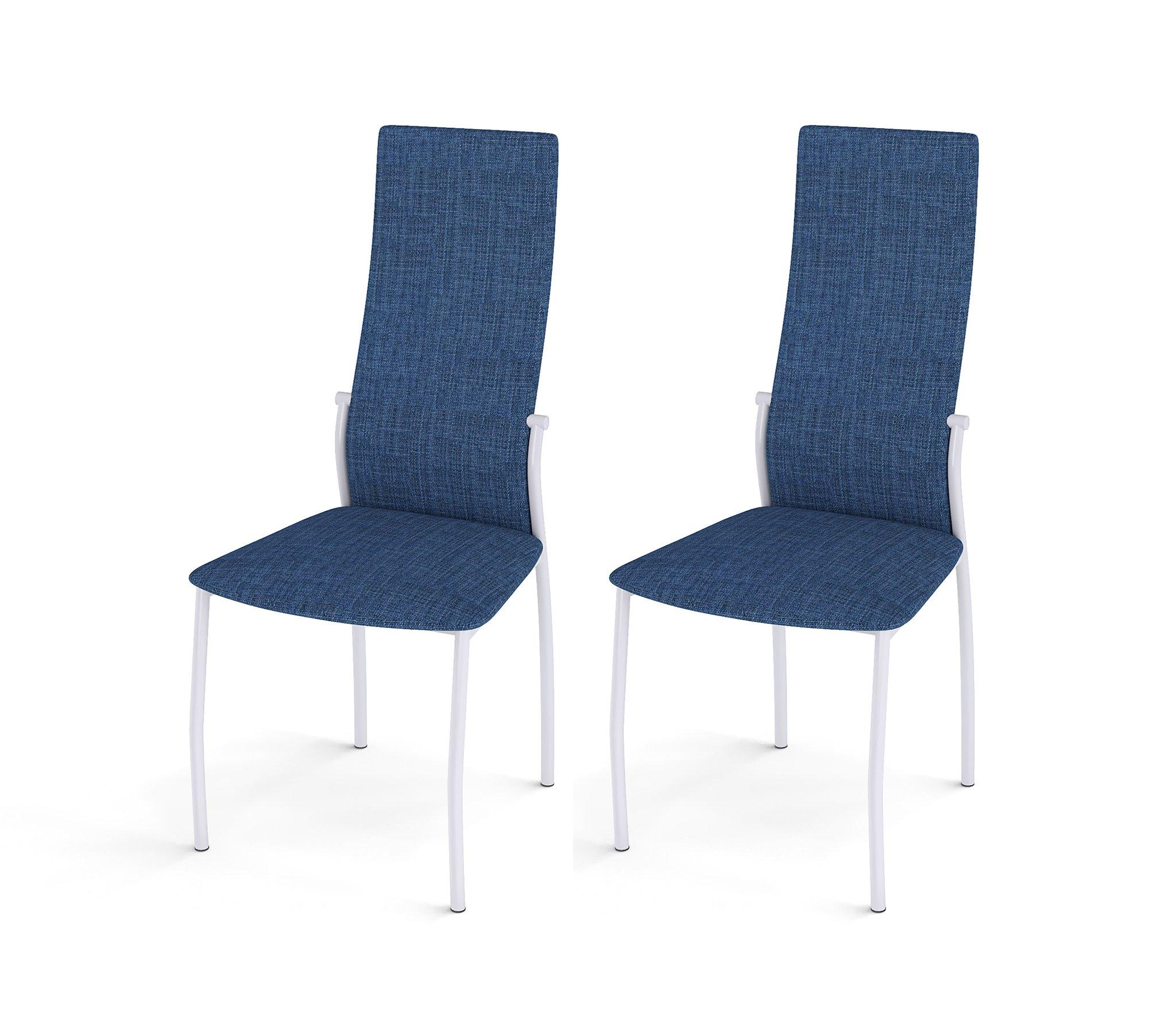 Стул Галс белый каркас /ткань №14 синий (в комплекте 2 шт.) недорого