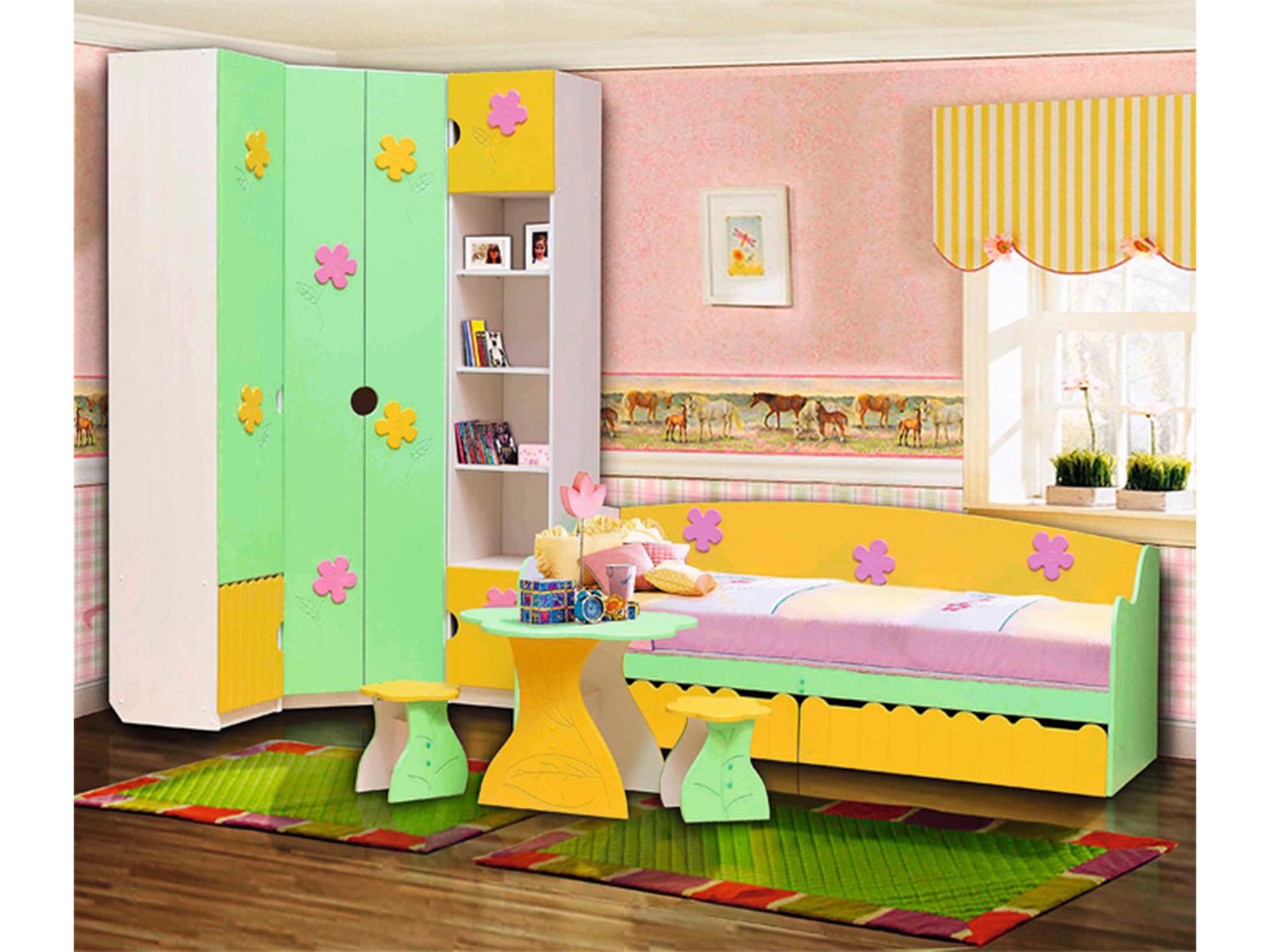 Спальный гарнитур Цветочек-1Детские комнаты<br><br><br>Длина мм: 3665<br>Высота мм: 2200<br>Глубина мм: 580