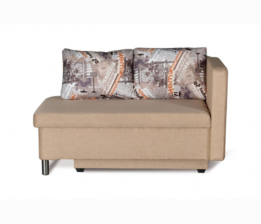 Кушетка Эмма праваяМягкая мебель<br>«Эмма» - это очаровательный диванчик с двумя подушками, в котором сочетаются компактность и функциональность. При необходимости подлокотник дивана откидывается, превращая его в односпальную кровать. В нижней части находится вместительный ящик для постельных принадлежностей. Рекомендуем модель для детской комнаты, кухни, закрытой лоджии, прихожей, а также в качестве запасного спального места.При заказе нужно обратить внимание на расположение откидывающегося подлокотника так как у дивана угол может быть или правым или только левым.Механизм трансформации - ЕврокнижкаЯщик для белья - ЕстьДлина изделия132 см.Высота изделия85 см.Глубина изделия74 см.Глубина спального места70 см.Длина спального места185 см.<br><br>Длина мм: 0<br>Высота мм: 0<br>Глубина мм: 0<br>Материал: Ткань<br>Механизм: Еврокнижка<br>Бельевой ящик: Ящик для белья<br>Мягкая мебель: Кушетка<br>Назначение: Для детской<br>Категория: Cтандарт