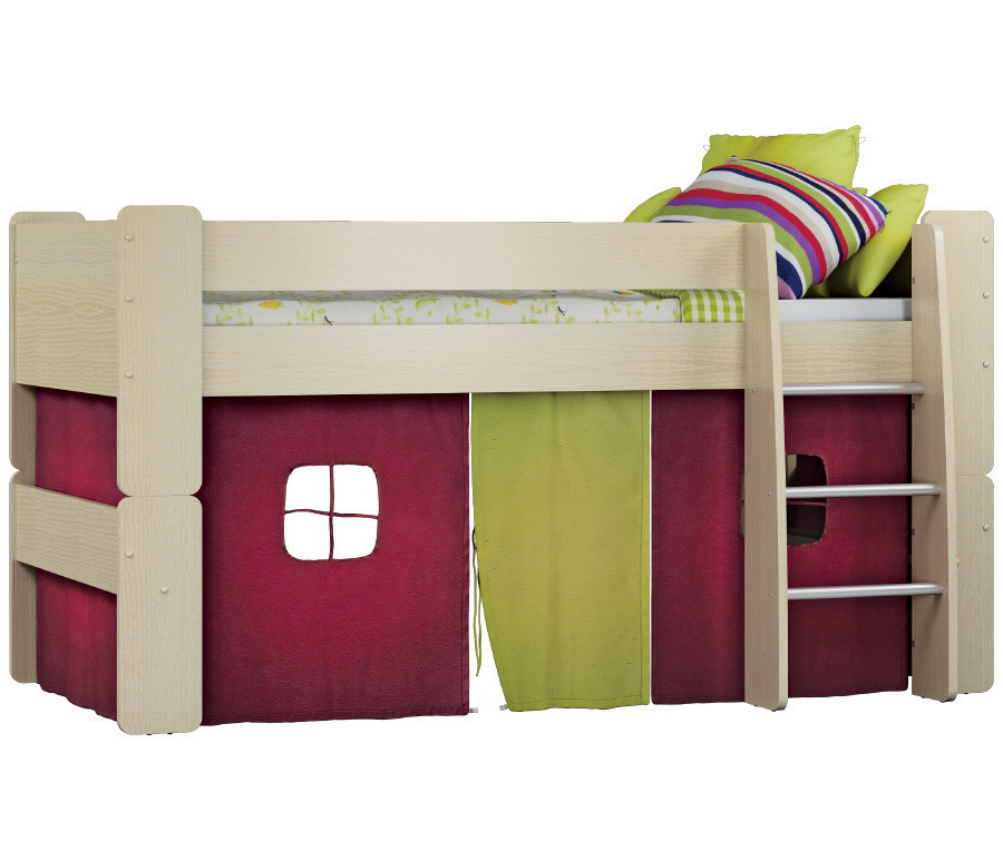 Маугли СБ-2123 Кровать + шторкаКровати<br>Кровать Маугли   это не только комфортное спальное место для ребенка, но и целый игровоймир. Спальное место надежно закрыто бортиками, что исключает падение малыша, подняться на него можно по удобной и не скользкой лесенке. Под самой кроватью предусмотрена игровая зона, которую при желании можно закрыть занавесками. Вспомните себя в детстве: наверняка мечтали о  домике  и любили мастерить его из стульев и одеял. Любой ребенок будет счастлив, если станет обладателем такой кровати.<br><br>Длина мм: 2076<br>Высота мм: 1115<br>Глубина мм: 1154<br>Материал: ДСП<br>Тип: Универсальные<br>Ящик: Нет<br>Ширина спального места: 900<br>Длина спального места: 2000<br>Бортик: Есть<br>Вид: Чердак