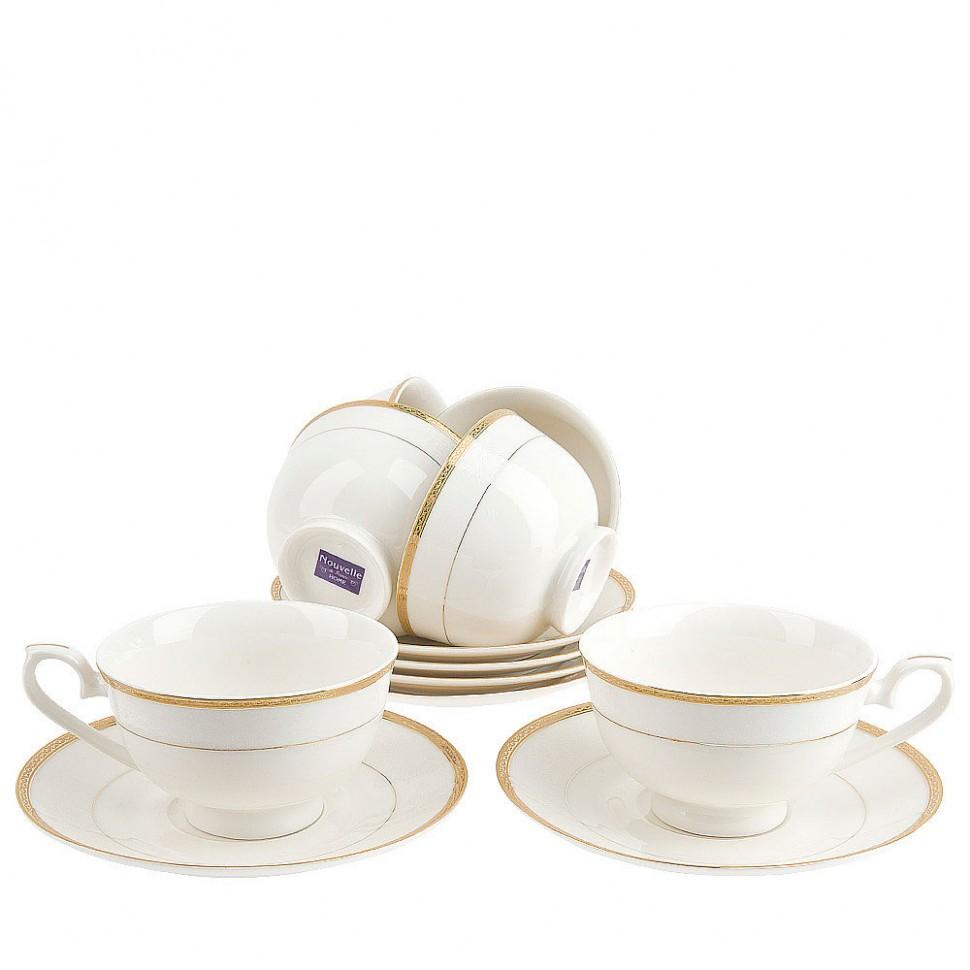 Набор чайных пар из фарфора 250 мл на 6 персон