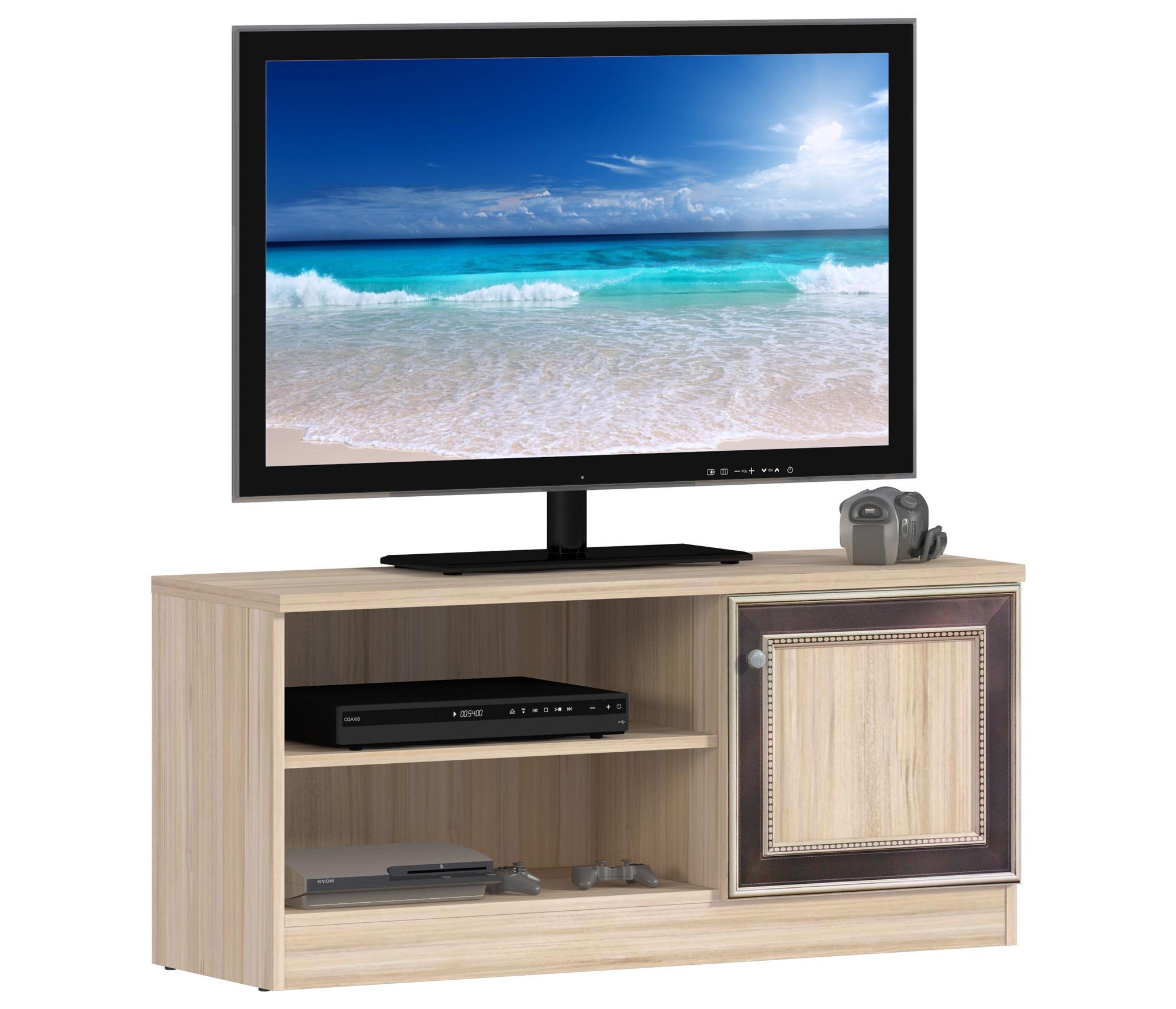 Персей СБ-1998 Тумба ТВТВ-тумбы<br>Центром притяжения современной гостиной является телевизор. За просмотром новостей, сериалов и ток-шоу мы проводим достаточно много времени, поэтому важно, чтобы телевизор был удобно размещён в комнате. Тумба  Персей  в лаконичном исполнении и спокойной цветовой гамме «слива Табеа» создаст в паре с ТВ гармоничный дуэт. Тумба включает в себя две открытых полки под видеотехнику и секцию с дверцей с контрастным декором. Компактная, удобная, функциональная тумба станет отличным дополнением к комплекту мебели из коллекции «Персей» или другим моделям, выполненным в том же цветовом решении.<br><br>Длина мм: 1100<br>Высота мм: 503<br>Глубина мм: 370