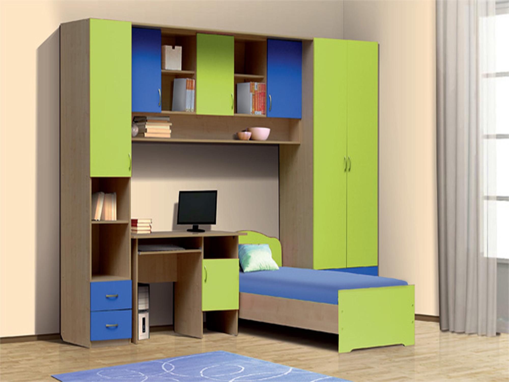 Набор мебели Школьник-1-1Детские комнаты<br><br><br>Длина мм: 3200<br>Высота мм: 2200<br>Глубина мм: 1995