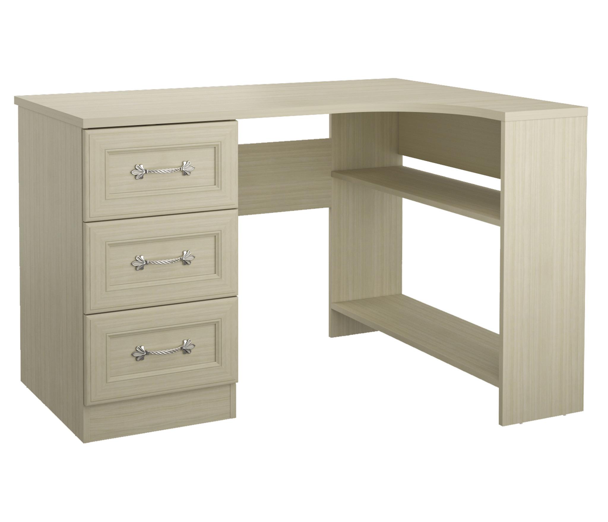 Дженни СТЛ.127.11 Стол угловой правый 3 ящикамиПисьменные столы<br><br><br>Длина мм: 1200<br>Высота мм: 770<br>Глубина мм: 896
