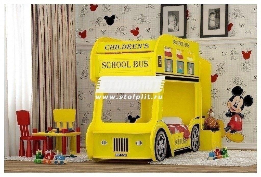 Кровать Автобус ПрестижДетские кровати<br><br><br>Длина мм: 940<br>Высота мм: 1460<br>Глубина мм: 2430<br>Цвет: Желтый