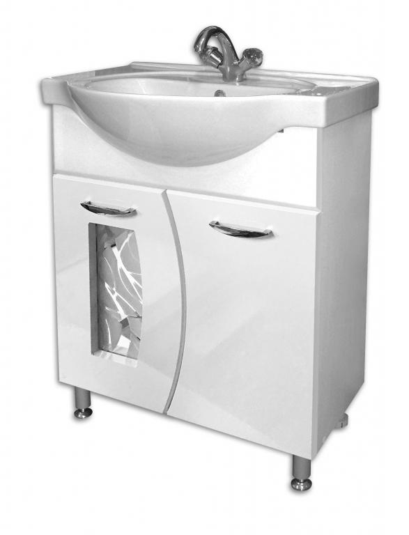 Купить Тумба под раковину в ванную напольная Лагуна 65 белая (раковина Erica в комплекте) в интернет магазине мебели СТОЛПЛИТ